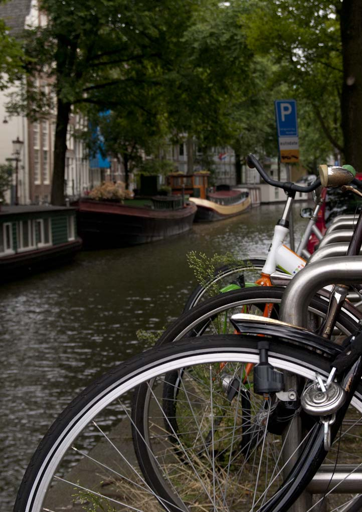 Amsterdam canals bikes water