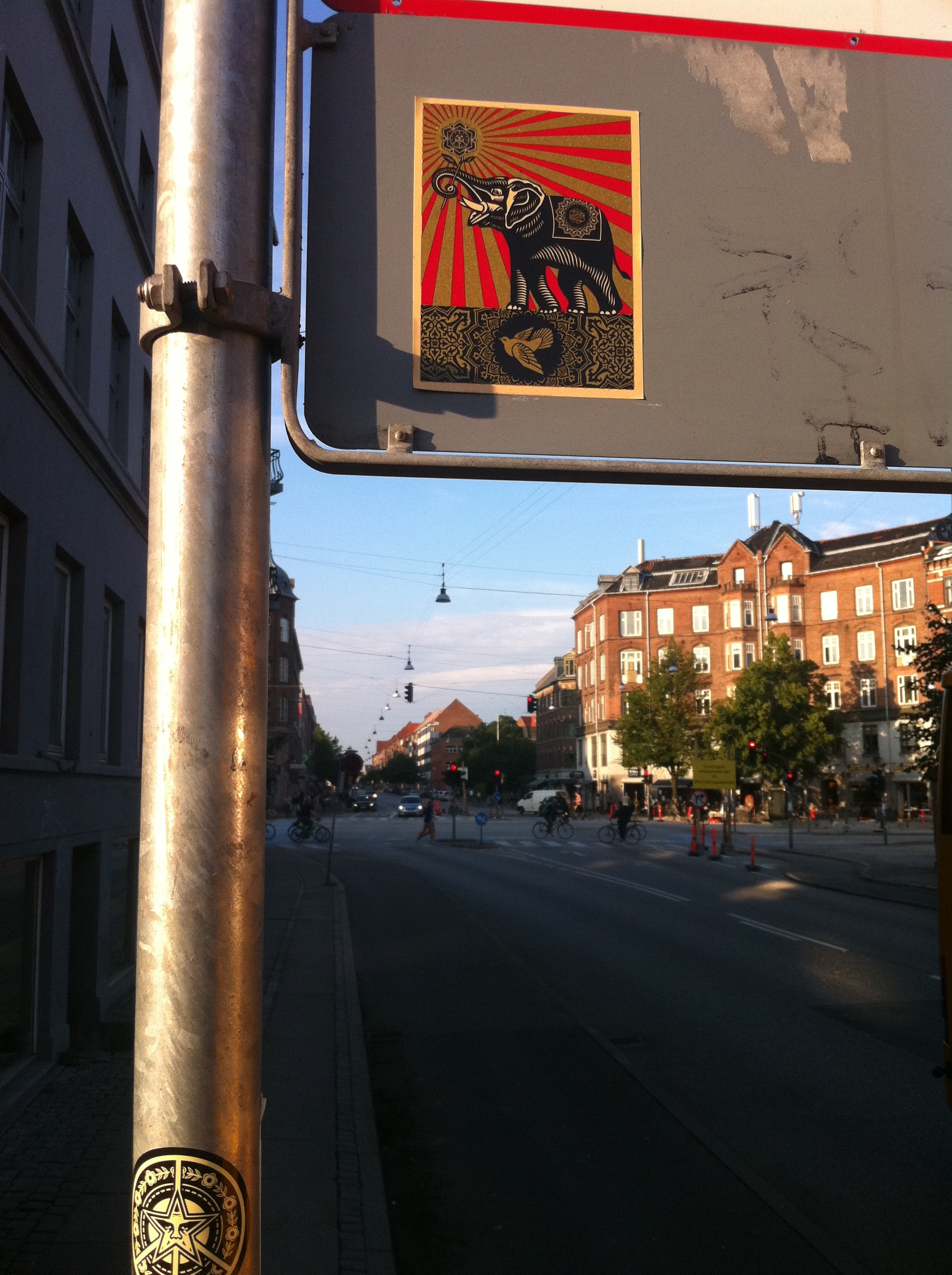 Shepard fairey stickers in copenhagen